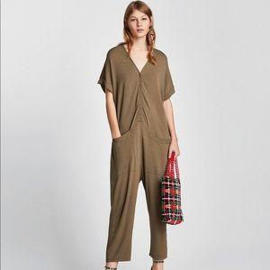 🆕 Zara Army Green Oversized Knit Jumpsuit